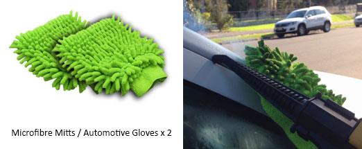 Automotive microfibre mitts for car detailing