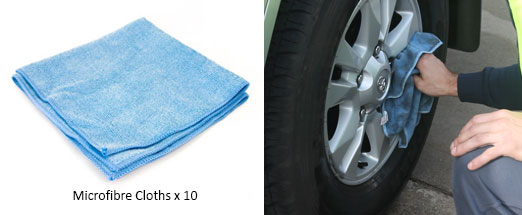 Microfibre cloths in the steam kit for car cleaning purposes